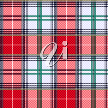 Rectangular seamless vector pattern as a tartan plaid mainly in pink, red, light grey and green colors