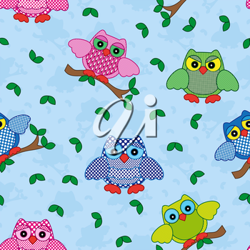 Seamless vector pattern with colorful ornamental owls on a blue background