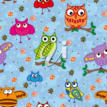 Seamless vector pattern with colorful ornamental owls on a light blue background