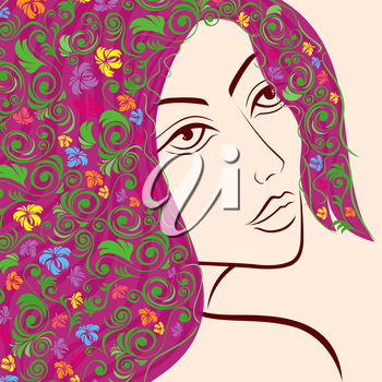 Beautiful women head with colourful floral hair, hand drawing vector illustration