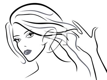 Young beautiful women with chic hair, black over white hand drawing vector sketching artwork