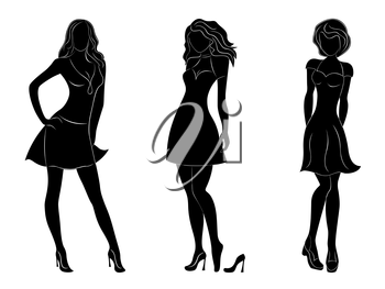 Three beautiful slim women black silhouettes with white contours, hand drawing vector artwork