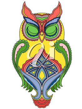 Colourful ornamental big owl with close eyes, vector illustration with ethnic motifs isolated on a white background