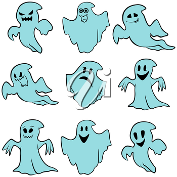 Set of nine blue flying ghosts with various characters isolated on a white background, cartoon Halloween vector illustration