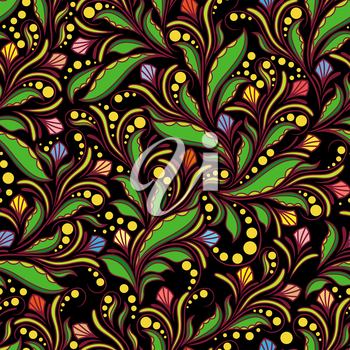 Seamless colourful pattern with doodle herbal elements on a black background, hand drown vector artwork