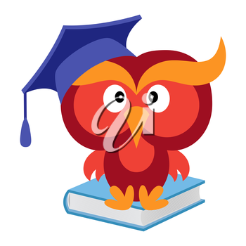 Big funny wise owl in the mortarboard cap sitting on the blue book, cartoon vector illustration isolated on the white background