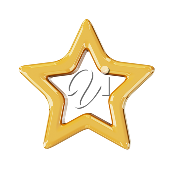 Christmas gold star. 3d render with HDR