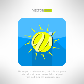 Bright yellow sun icon in modern flat design. Nice weather icon with long shadow. Hot solar emblem. Vector illustration