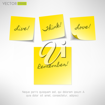 Yellow note sticker with message. Paper reminder. Vector
