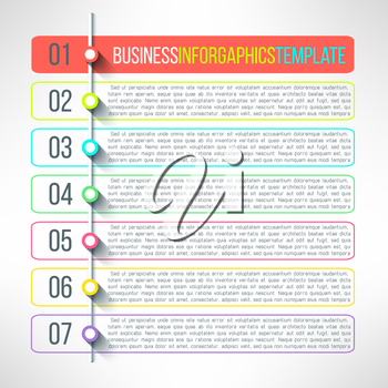 Vector business process steps infographics template. Colorful options choice, instruction or presentation circle elements.