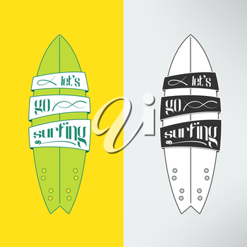 Vector surfboard in cartoon graffiti design. Surfing board with text banners on it and inspirational lettering.