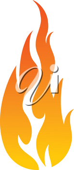 Simple flat color flame icon vector