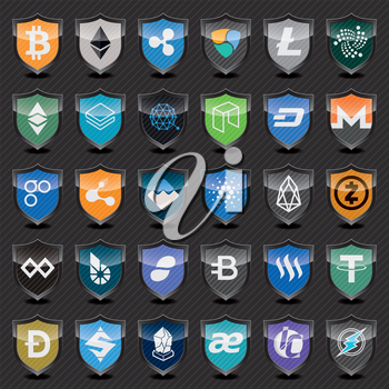 Black shields with cryptocurrency symbols. Vector icon set for cryptocurrency mining pools or digital currency exchange.