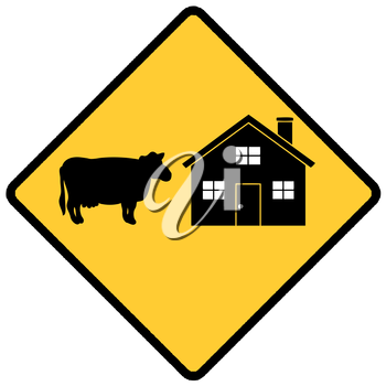 Royalty Free Clipart Image of a Cattle Farm Sign