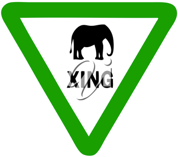 Royalty Free Clipart Image of an Elephant Crossing Sign