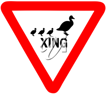 Royalty Free Clipart Image of a Duck Crossing Sign