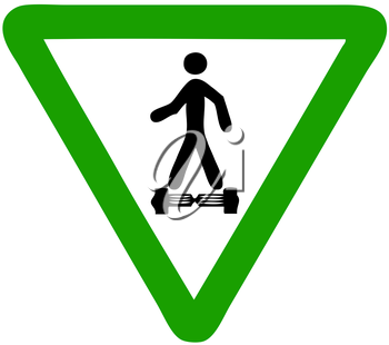 Royalty Free Clipart Image of a Hoverboard Sign