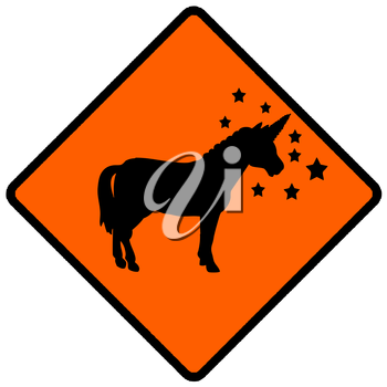 Royalty Free Clipart Image of a Unicorn Caution Sign