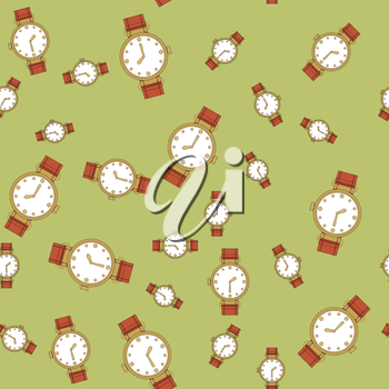 Seamless retro pattern with watches 570