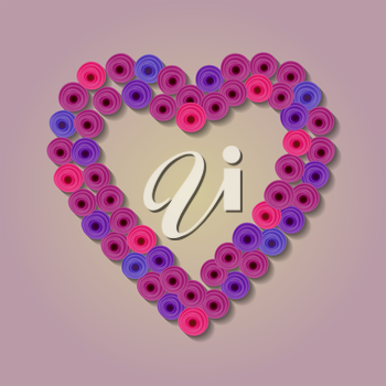 Abstract paper Flower. Heart Quilling. vector illustration