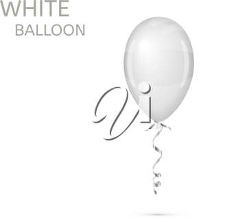 White Balloon with ribbon isolated on white. Vector illustration
