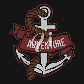 Anchor with Banner and rope. Adventure Vector illustration