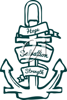 Anchor with Banner. Hope, Salvation and Strength. Vector Illustration
