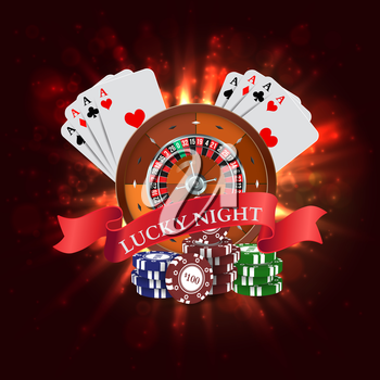 Casino. Roulette with Red Ribbon Lucky night. Vector illustration