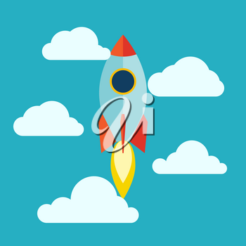 Starup Rocket with Fire. Flat design. Vector illustration
