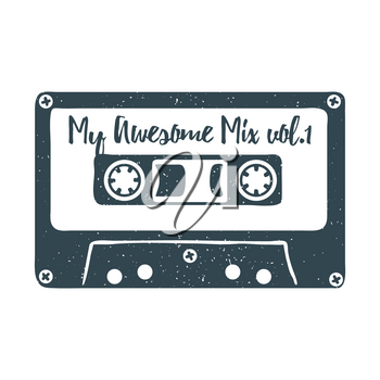 Hand drawn 90s themed badge with audio cassette tape textured illustration and My Awesome Mix vol.1 inspirational lettering. Vector illustration