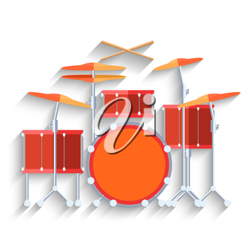 Drum kit icon. Flat design long shadow. Vector illustration.
