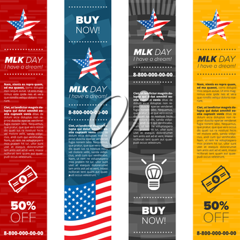 Martin Luther King vertical banner set with sample text and usa flag