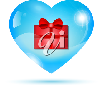 Red gift box inside a blue shiny heart