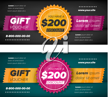 Black and slate gray Gift voucher template with decorative elements