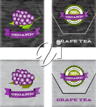 fruit tea bags design with colored abstract background
