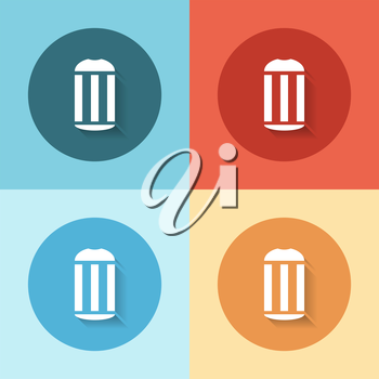 flat recycle bin icon on a color background