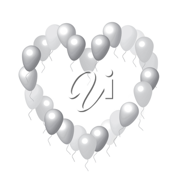 White background Hearts with balloons vector frame on white
