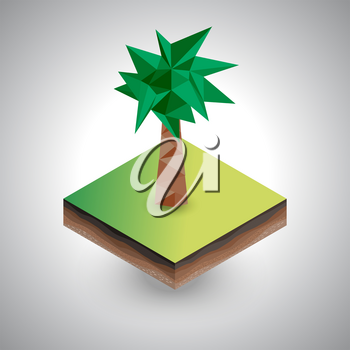 Isometric palm on the piece of the soil on the gray background