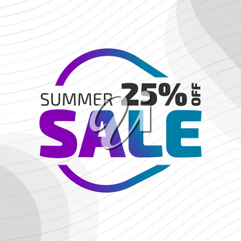 Summer sale vector banner with the color gradient filling