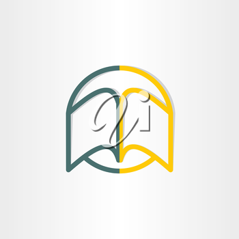 open book abstract symbol design university library