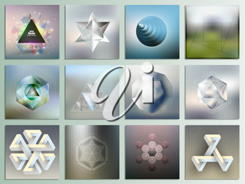 Set of geometric figures and polygon patterns with the reflection, abstract patterns, minimalistic geometric facet crystal logos on blurred background, vector elements for design.