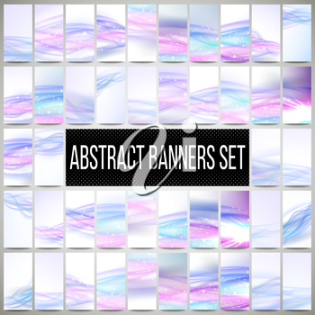 Abstract blue banners set, wave vector design.