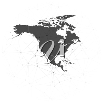 north america map background vector illustration, background for communication.