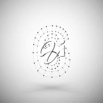 Three dimensional mesh stylish number on white background, single color clear vector.