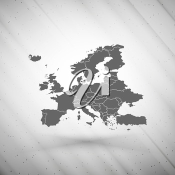 Europe map on gray background, grunge texture vector illustration.