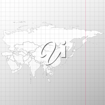Eurasia map in a cage on white background vector.