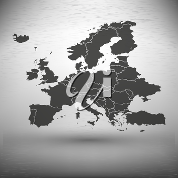 Europe map with the shadow on gray background vector