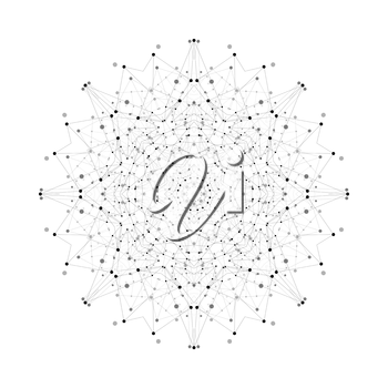 Round vector shape, molecular construction with connected lines and dots, scientific or digital design pattern isolated on white.
