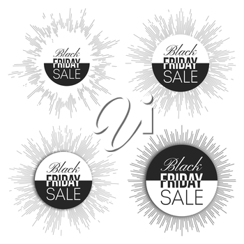 Black friday elements, noir desing sale banners set, vector illustration.