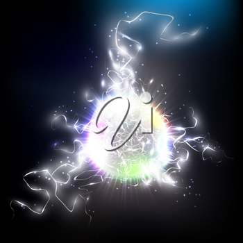 Electric lighting effect. Magic vector background with lightning.